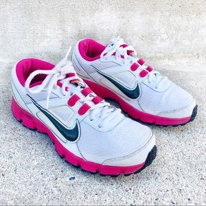 Nike Womens White Pink Black Swoosh Running Shoes